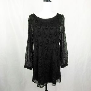 En Creme Sheer Lined Tunic Dress